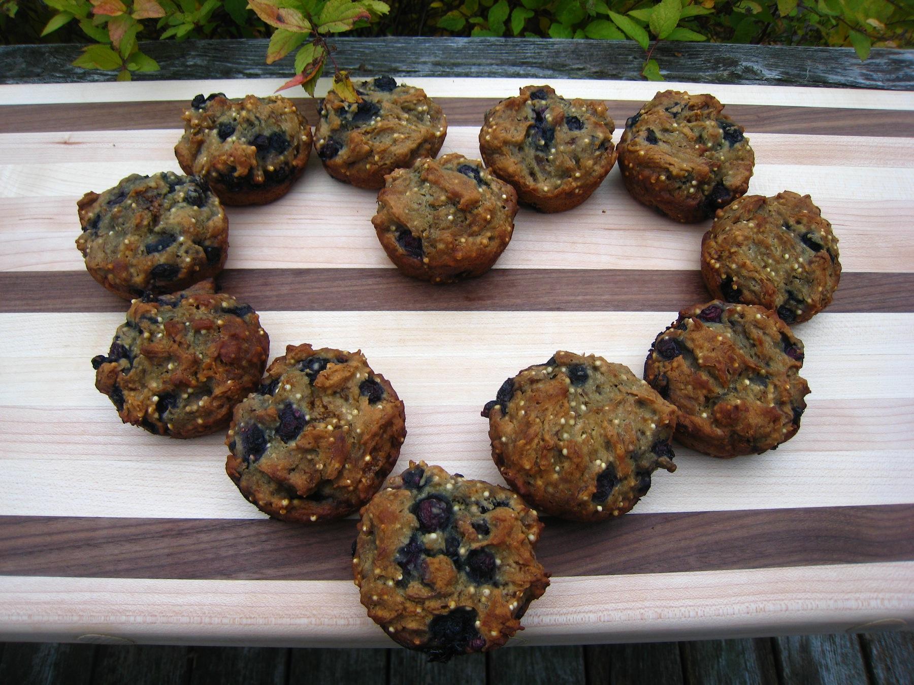 Banana Blueberry Walnut Muffins (gluten-free & dairy-free)