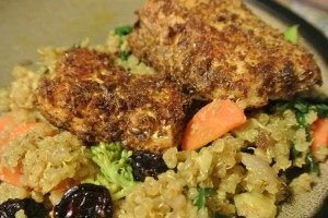 Flax fish served over Moroccan Quinoa - a quick,  easy, and delicious healthy homemade meal