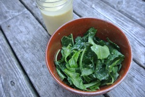 Here we have our Apple Cider Vinegar Dressing over a bowl of mixed bitter greens - arugula, spinach, black kale, baby kale and dandelion greens - all from the local Dieppe Market!