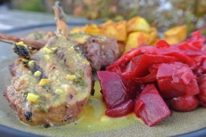Lamb popsicles in coconut curry dipping sauce, turmeric roasted potatoes and warm beet cabbage side dish