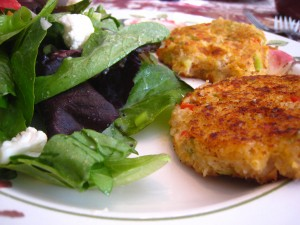 Quinoa crab cakes, green salad with goat feta and red wine vinaigrette