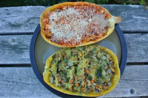 Spaghetti squash with roasted veggies and pesto, and roasted veggies with tomato pasta sauce